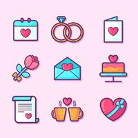 Conjunto de elementos do dia dos namorados