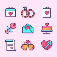 Día de San Valentín elementos conjunto de vectores