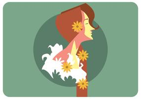 Girl With Flowers in Her Hair Vector