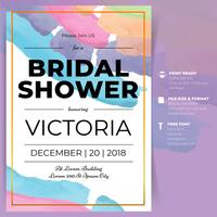 Bridal Shower Watercolor Invitation Card Template