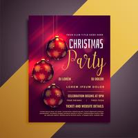 lovely christmas party flyer with balls and beautiful glows