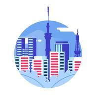 Ilustração em vetor Skyline de Tóquio