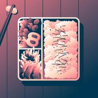 Bento Box Karage With Shusi Overhead View Vector Illustration