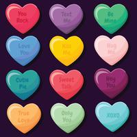 Valentine Candy Hearts Vector Pack