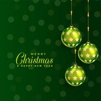beautiful green christmas ball background