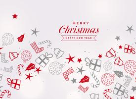 merry christmas festival card with different decorative elements