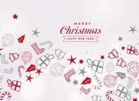 Tarjeta de feliz Navidad festival con diferentes elementos decorativos