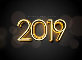 glowing 2019 new year background design