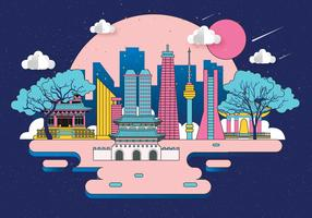 Seoul at Night Vector