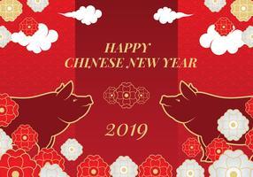 Fond de vecteur cochon nouvel an chinois