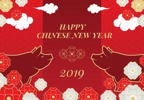 Fundo de vetor de porco ano novo chinês