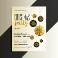 merry christmas celebration flyer design in gold theme