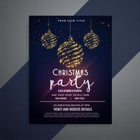 dark christmas flyer with glittering xmas balls