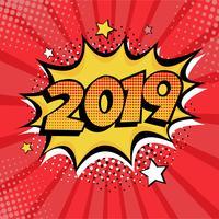 Elemento di cartolina o cartolina d'auguri di stile del libro di fumetti del nuovo anno 2019. Illustrazione vettoriale in stile fumetto retrò pop art.