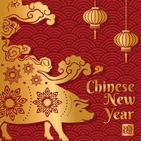 Año nuevo chino cerdo diseño vectorial