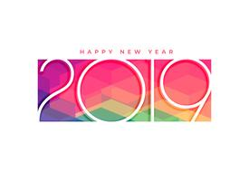 colorful 2019 happy new year background design