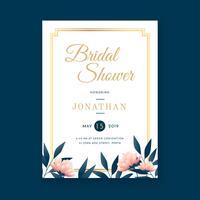 Floral Vintage Bridal Shower Invitation Template Vector