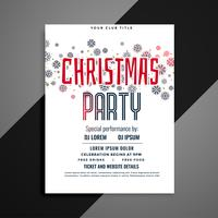 elegant christmas party flyer with snowflakes pattern