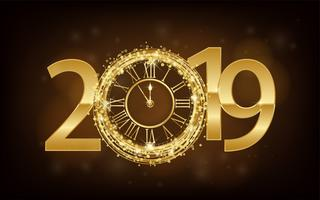 Happy New Year 2019 - New Year Shining background with gold clock and glitter. Vector ilustration
