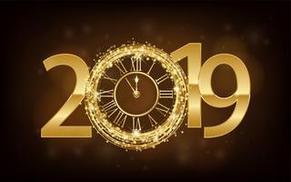 Feliz año nuevo 2019 - Año Nuevo Fondo brillante con reloj dorado y purpurina. Ilustración vectorial