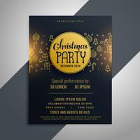Jul inbjudan flygblad affisch design med dekorativa element