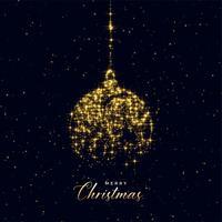 bola de natal feita com brilhos dourados