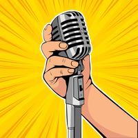 Hand hold microphone cartoon vector illustration. Retro poster comimc book performance. Entertainment halftone background.