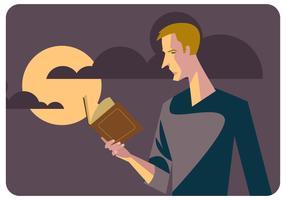 Mann, der Buch-Vektor reding ist