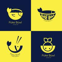 pack de vecteur logo poke bowl