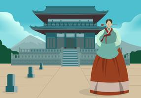 Korean Traditional Uniform Vector Flat Background  Illustration