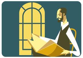 oldman läser bokvektor