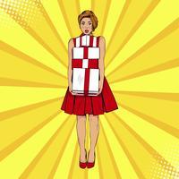 Jeune femme blonde surprise sexy avec la bouche ouverte, tenant une boîte cadeau brillant. Illustration vectorielle dans un style rétro pop art comique. Modèle de certificat-cadeau.