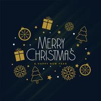 merry christmas decoration elements on dark background