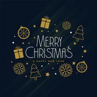 Elementos de la decoración de Navidad feliz sobre fondo oscuro
