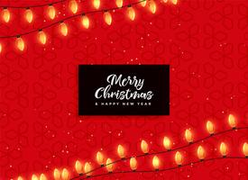 red christmas background with decorative lights