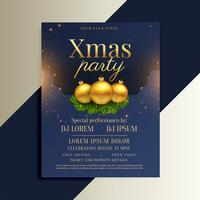 brilliant design of christmas flyer with golden balls
