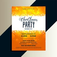 orange merry christmas party flyer with shiny snowflakes design