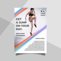 Flat Woman Jump Health Lifestyle  Flyer Template