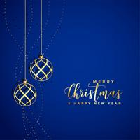 beautiful blue background with golden christmas ball