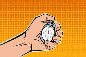 Male Hand Holding Stopwatch. Time Management. Pop Art retro vector  illustration