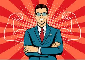 Man with muscles currency dollar pop art retro style. Strong Businessman in glasses in comic style. Success concept vector illustration.