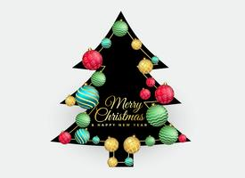 christmas tree with colorful balls decoration background