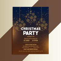 christmas festival flyer design with snowflakes ball decoration