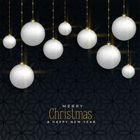 luxury christmas greeting with hanging balls