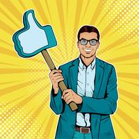 Businessman with like gesture on wooden stick. Colorful vector illustration in pop art retro comic style.