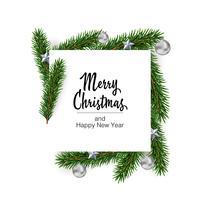 Vektor jul kvadrat formad layout bakgrund med gran grenar