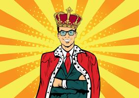 Business king. Businessman with crown. Man leader, success boss, human ego. Retro pop art comic drown vector illustration.