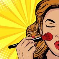 La belleza de la cara. Maquillaje, pincel de mujer provoca el tono en la cara. Ilustración del vector en estilo cómico retro del arte pop.