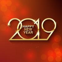 Felice anno nuovo 2019 design del testo. Illustrazione di saluto vettoriale con numeri dorati. Buon Natale e felice anno nuovo 2019 vettore biglietto di auguri e poster design.