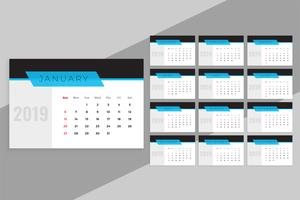schoon blauw 2019 kalendersjabloon